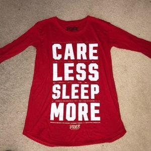 Victoria Secret PINK red crewneck long sleep shirt